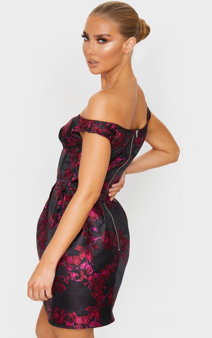 Black Bardot Jacquard Floral Bodycon Dress 2