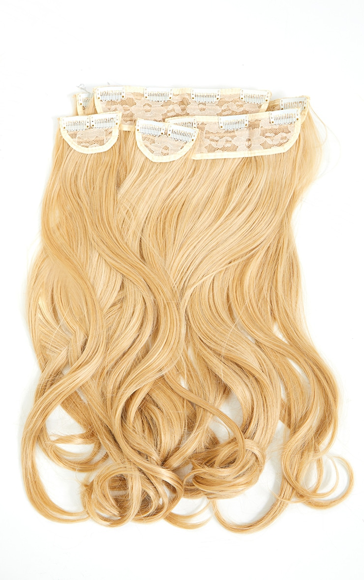LullaBellz Super Thick 16'5 Piece Blow Dry Wavy Clip In Hair Extensions Golden Blonde 5
