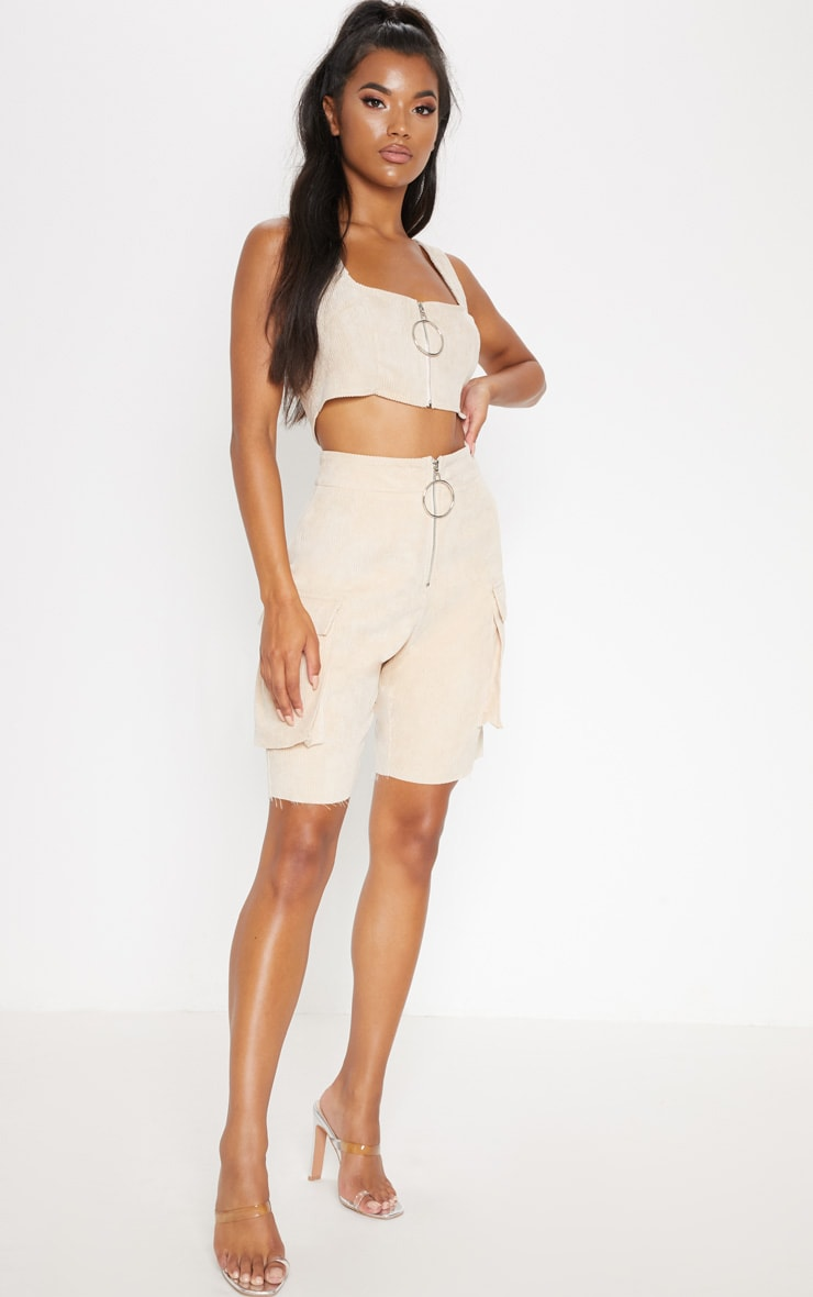 Cream Cord Boyfriend Fit Shorts 5
