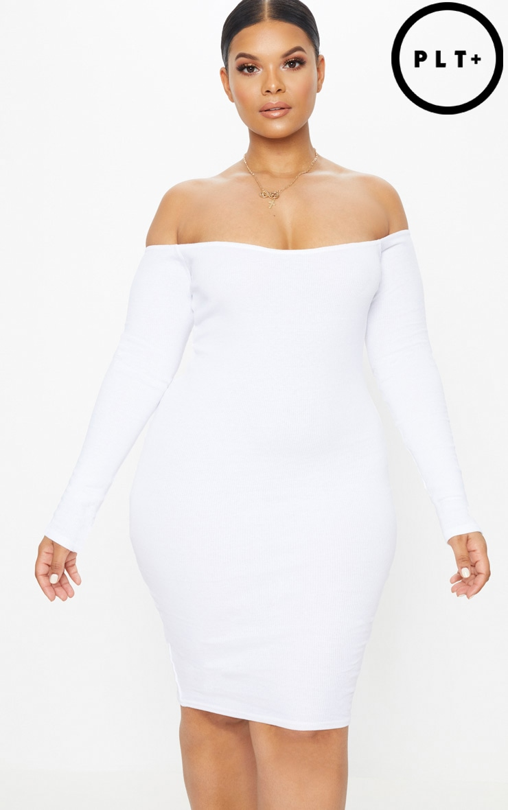 Plus White Second Skin Bardot Ribbed Long Sleeve Midi Dress Pretty Little Thing Cheap Price In China Bs0sViMHN