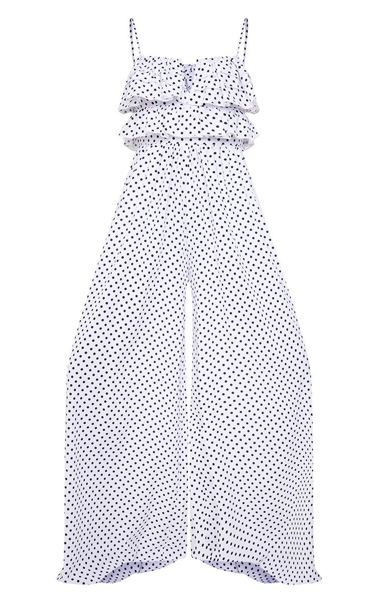 White Polka Dot Strappy Ruffle Wide Leg Jumpsuit 5