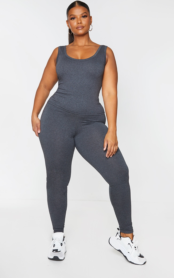 Plus Basic Charcoal Grey High Waisted Jersey Leggings 1