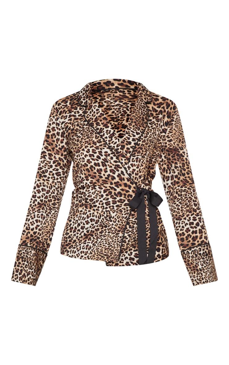 Tan Leopard Belted Blouse  3