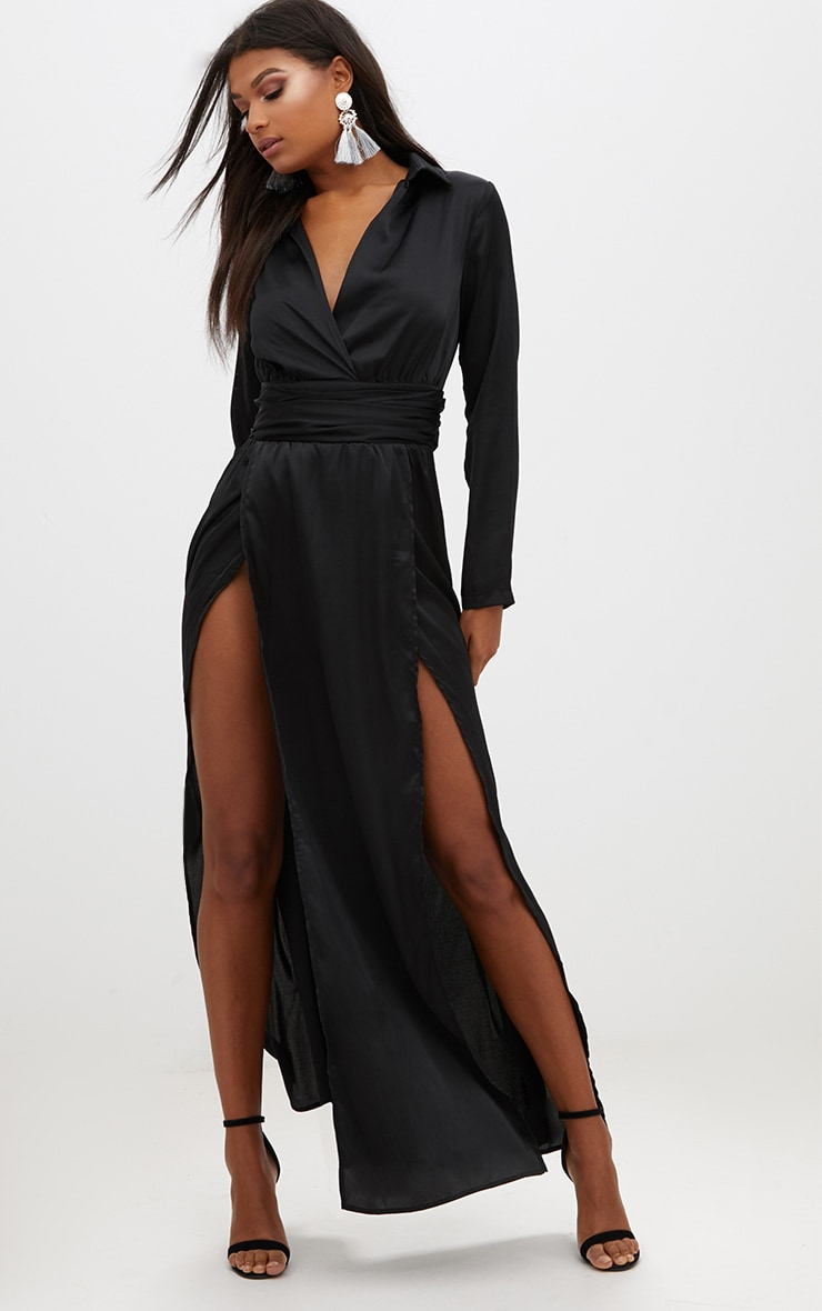 Black Long Sleeve Satin Belt Detail Maxi Dress 1