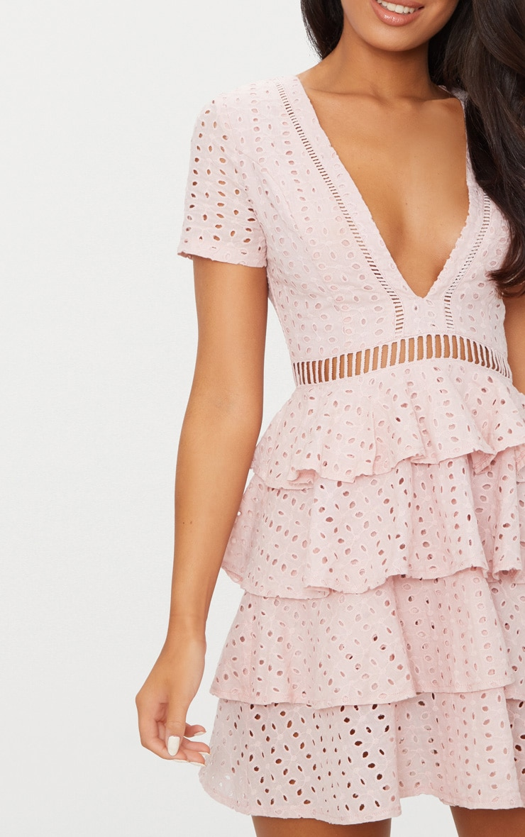 Dusty Pink Lace Tier Frill Plunge Skater Dress  4