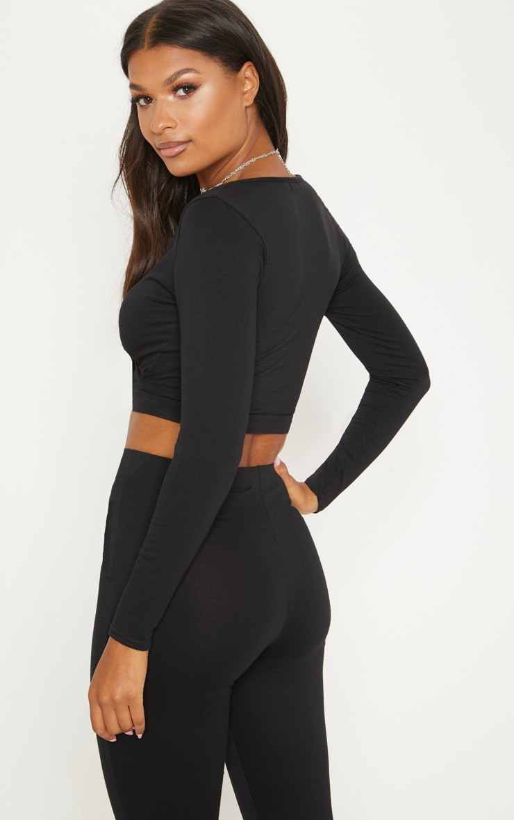 Black Cotton Wrap Front Long Sleeve Crop Top 2