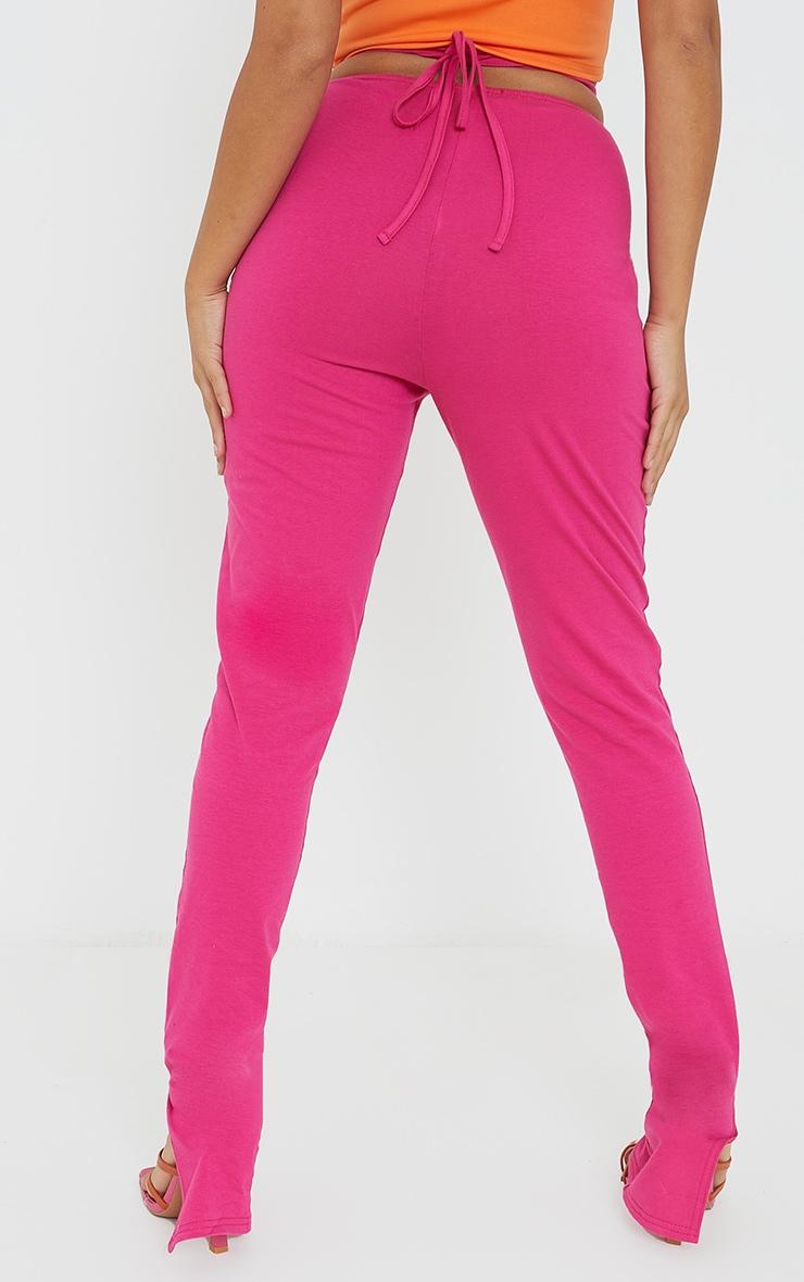 Petite Pink Ruched Waist Wrap Around Split Hem Leggings 3