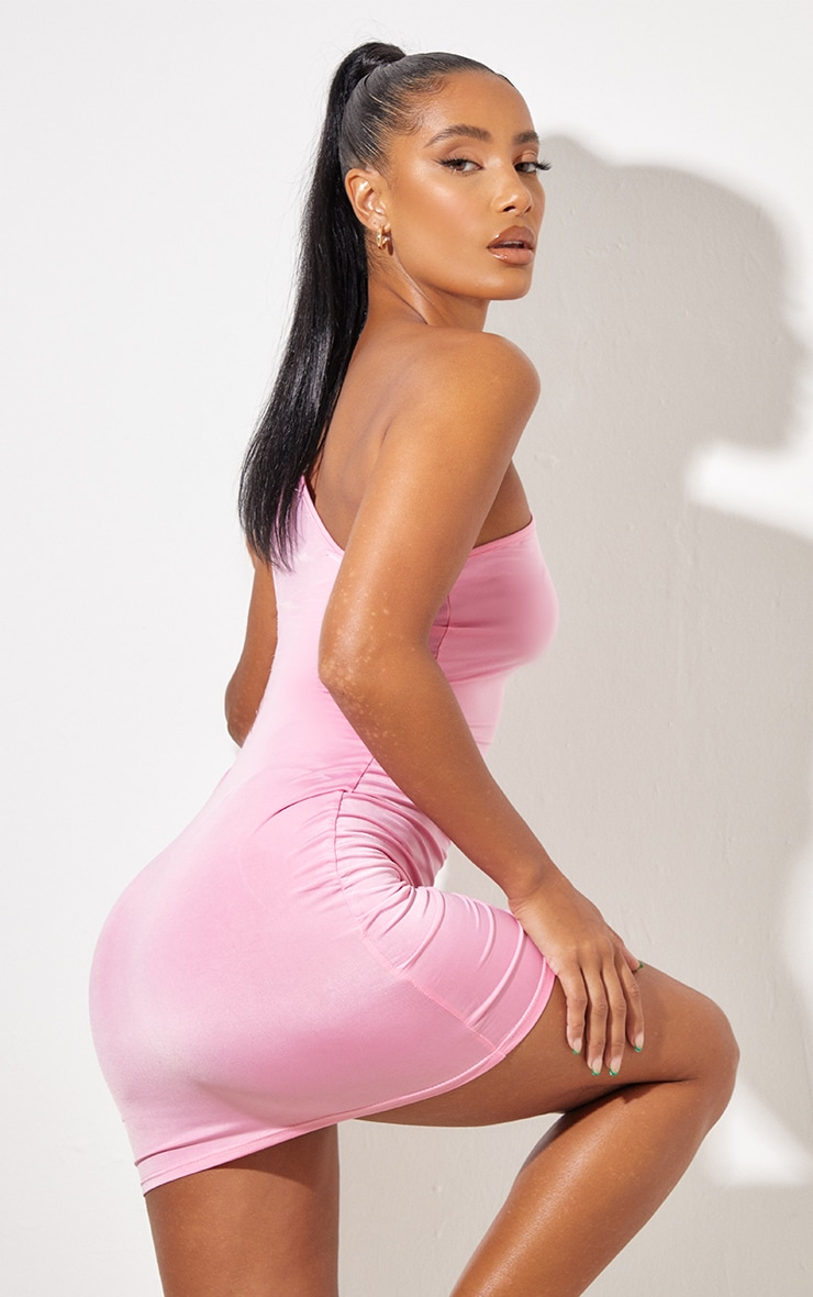 Pink  Slinky One Shoulder Cut Out Detail Bodycon Dress 2