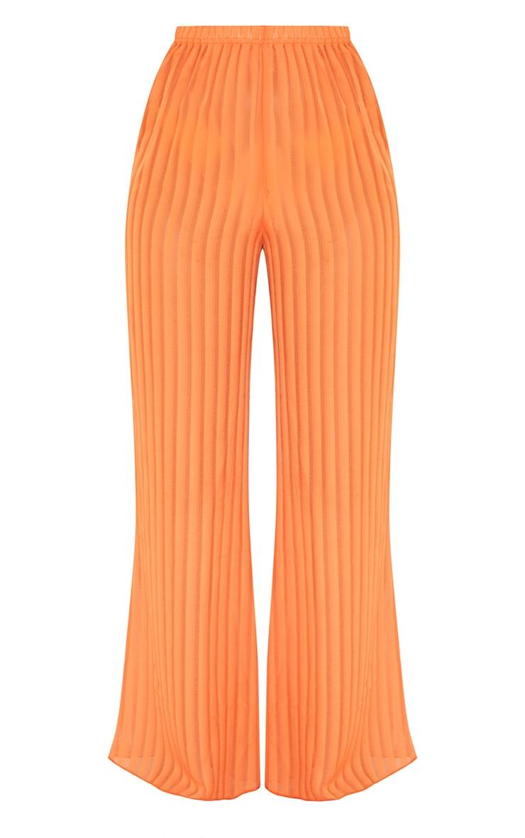 Orange Sheer Stripe Wide Leg Beach Pants 5