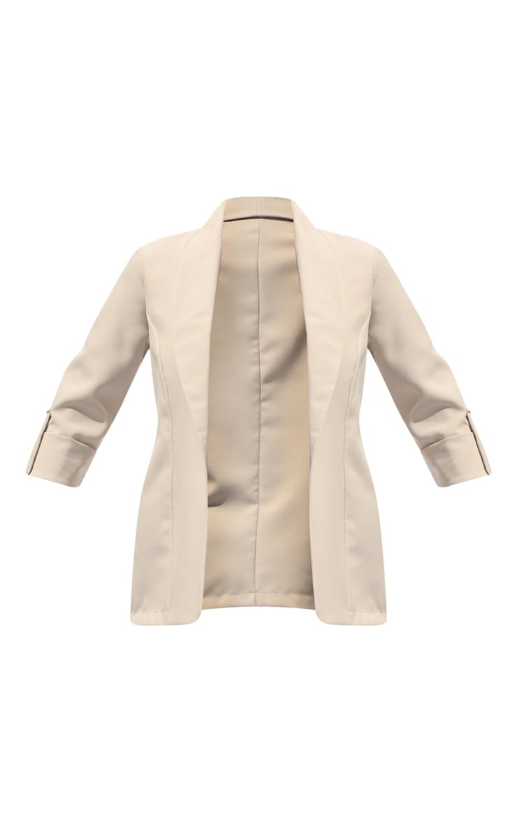 Camel Woven Turn Up Sleeve Blazer 5