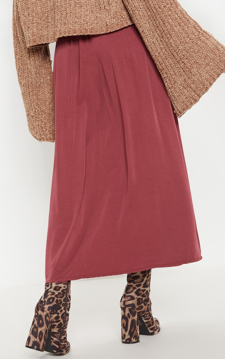 Wine Button Front High Waisted Midi Skirt 4