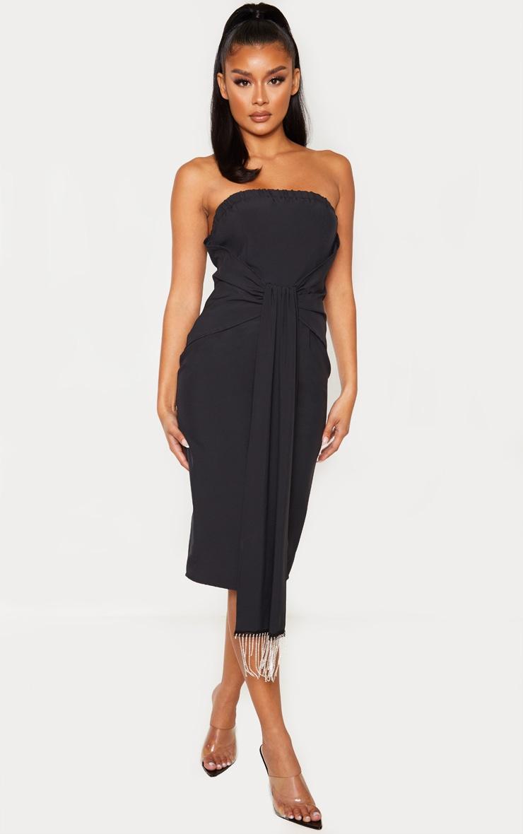 Black Jewelled Tassel Bandeau Drape Midi Dress 4