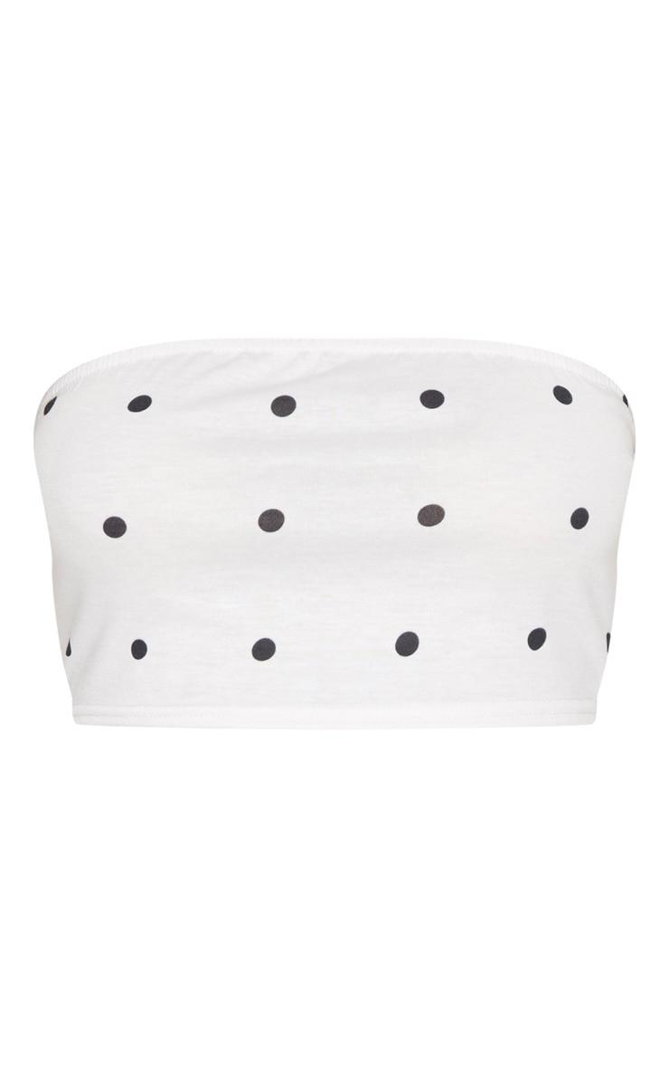 White Polka Dot Jersey Bandeau Top 3