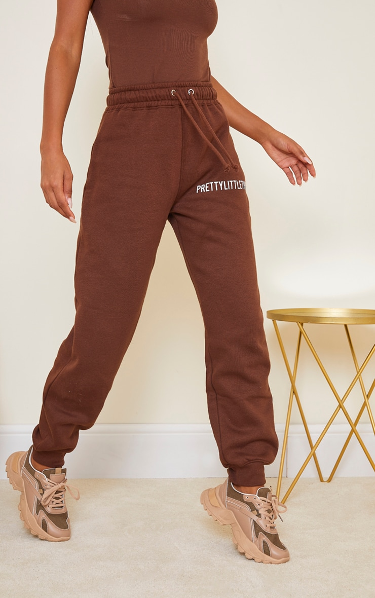 PRETTYLITTLETHING Chocolate Brown High Waisted Joggers 2