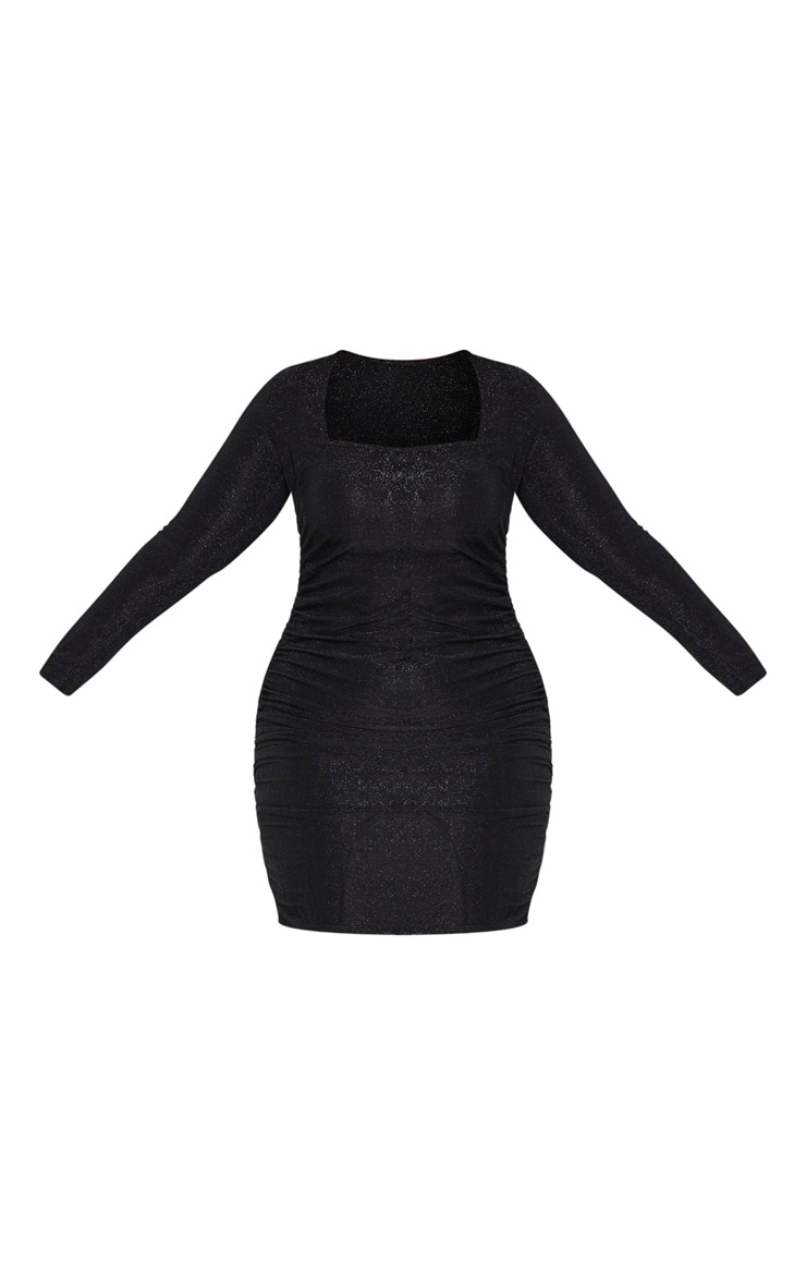 Plus Black Glitter Ruched Mini Dress 3