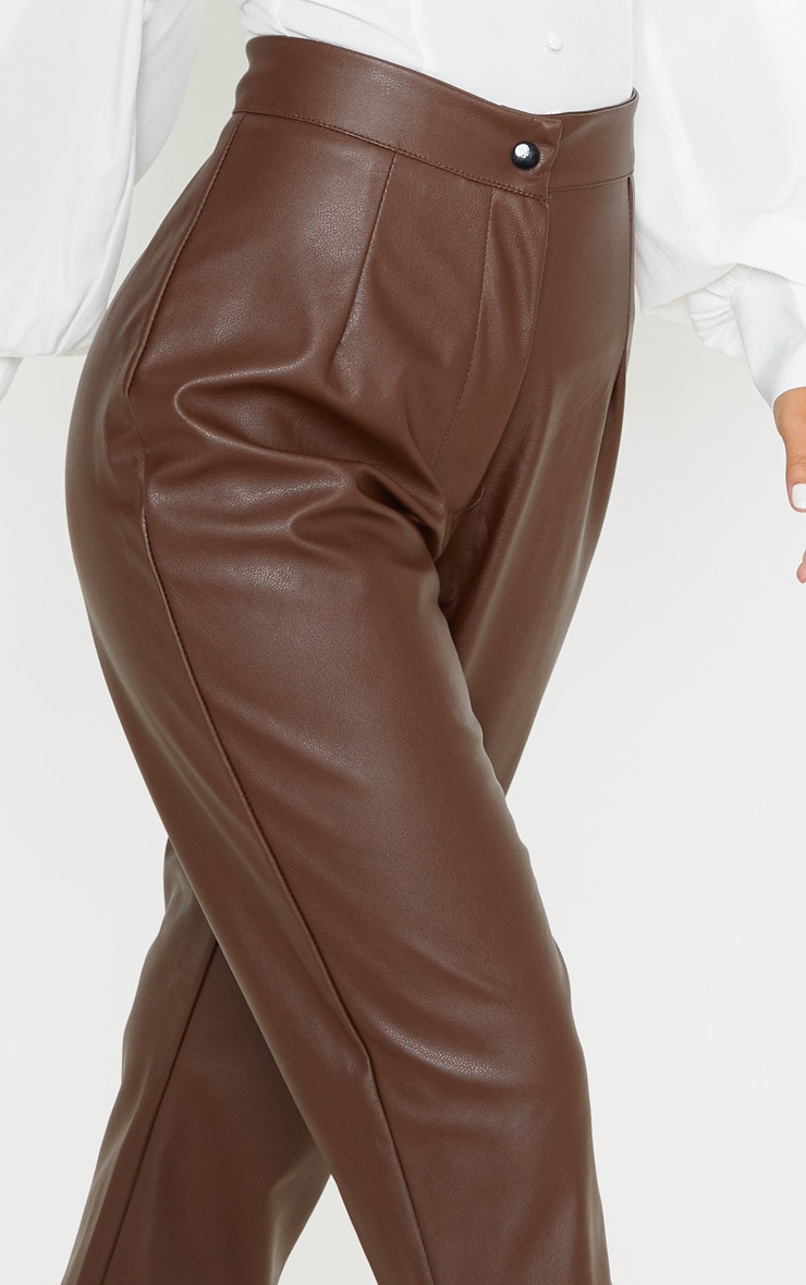 Petite Chocolate Faux Leather Slim Leg Pants 5