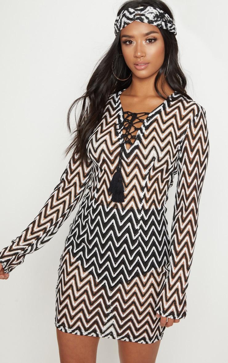 Petite Black Crochet Lace Up Mini Dress 1