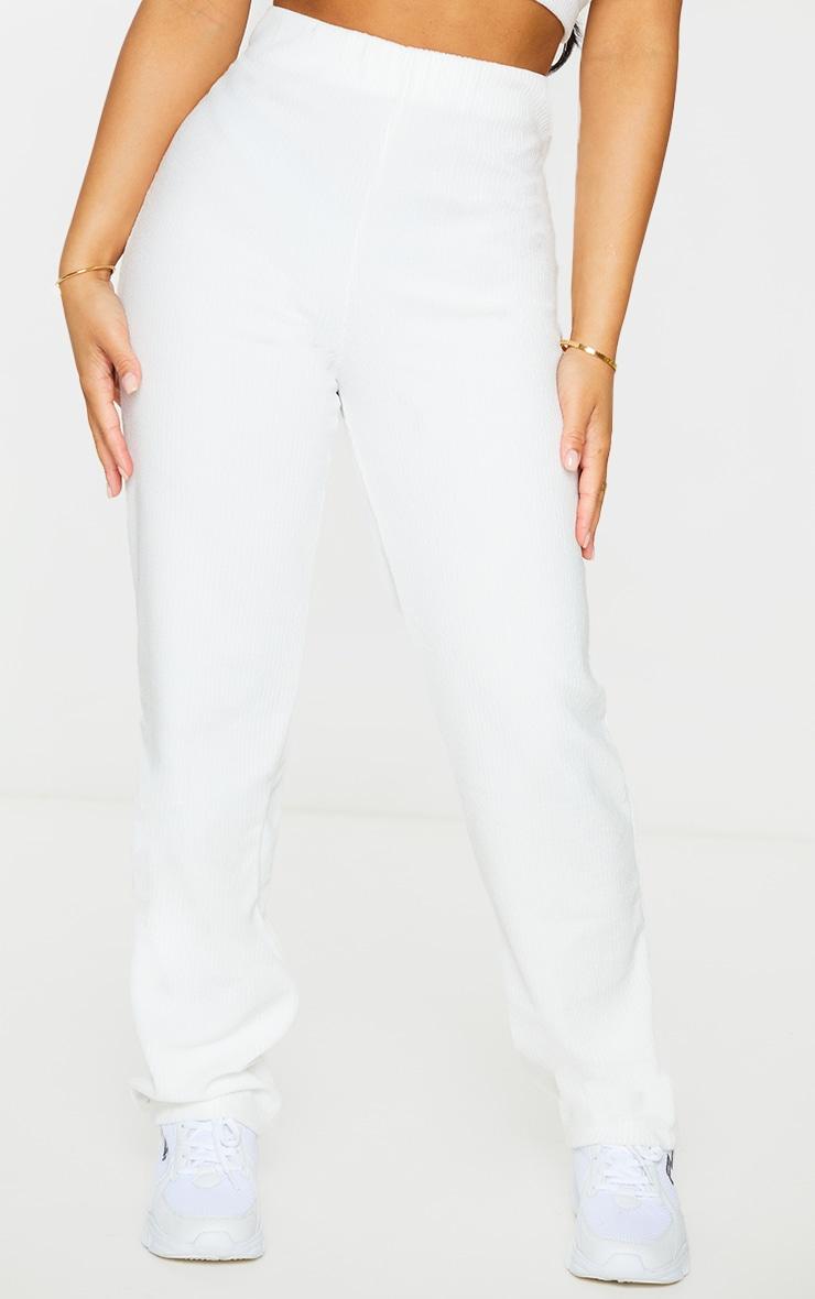 Petite Cream Towelling Rib High Waisted Flared Trousers 2
