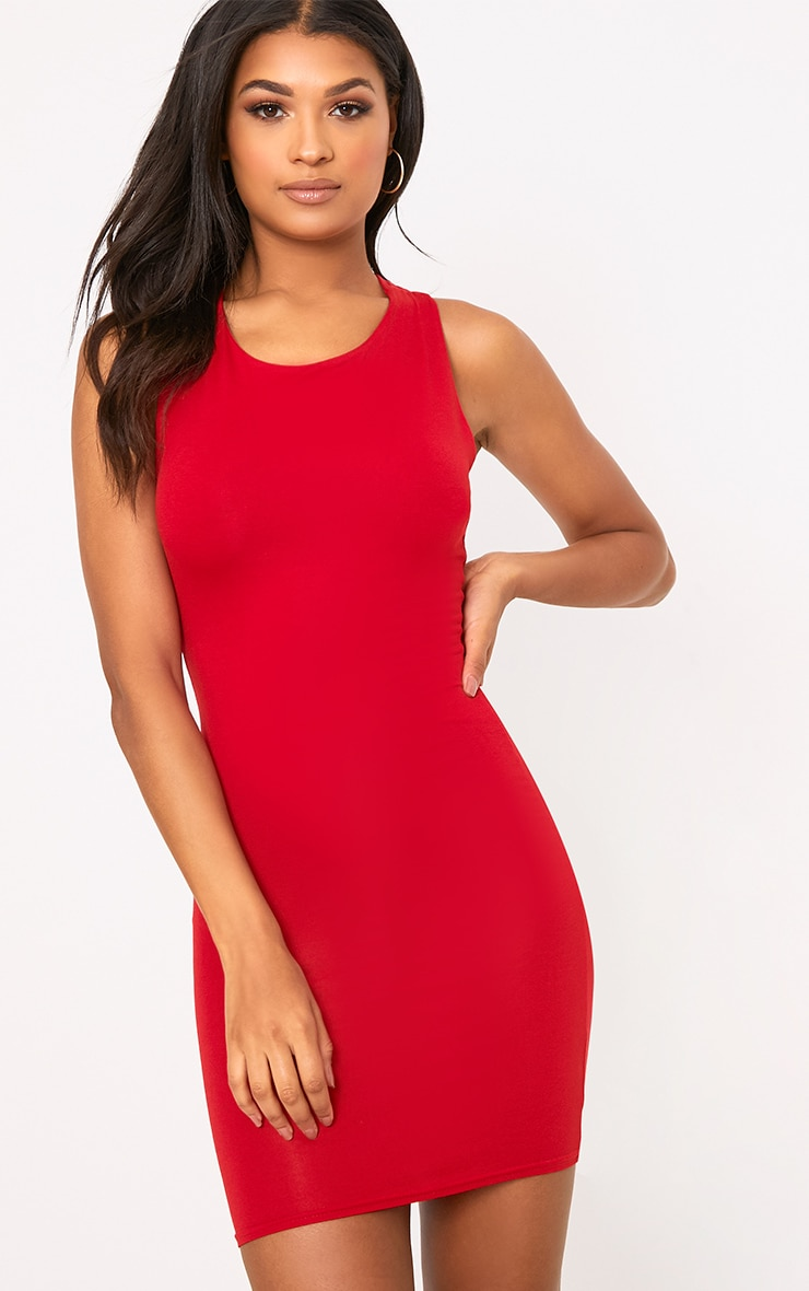 Red Strappy Back Bodycon Dress 2