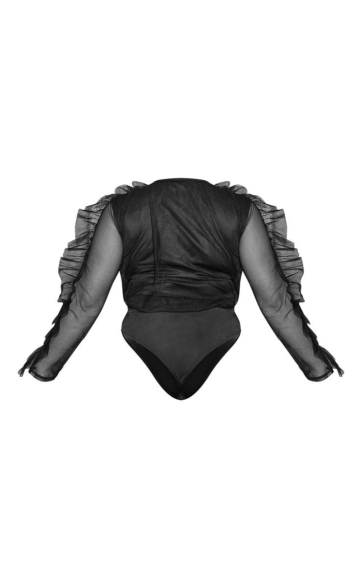 Plus Black Mesh Plunge Front Bodysuit 5