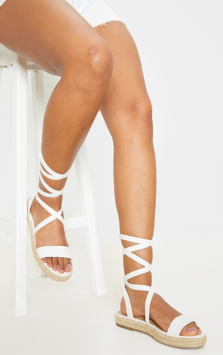 White Lace Up Espadrille Flatform Sandal 1