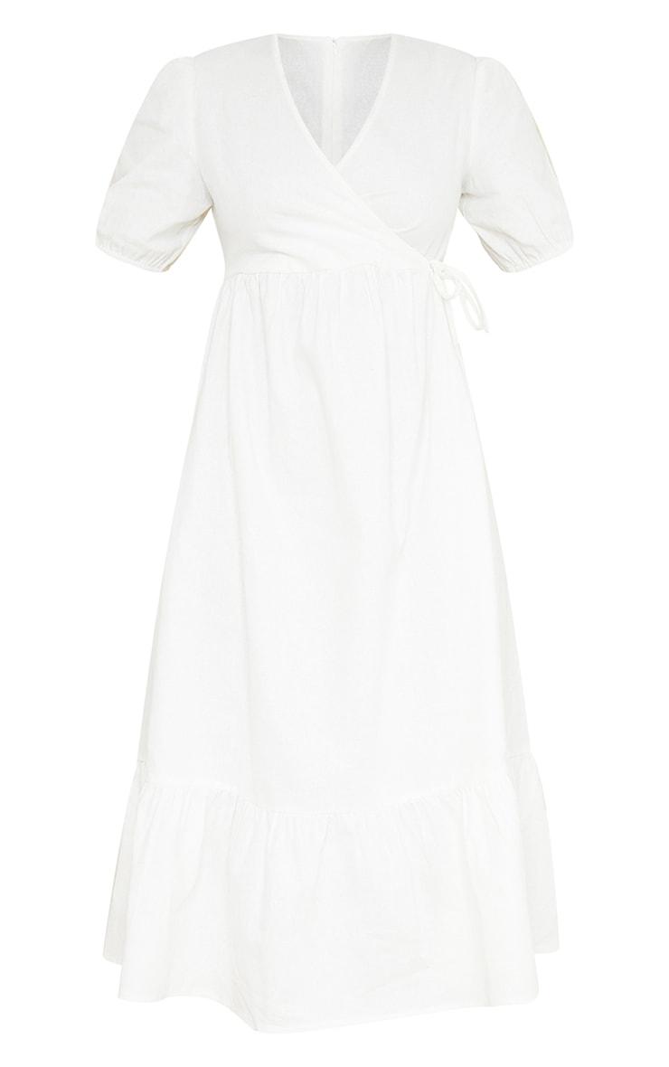 White Woven Wrap Tie Detail Puff Sleeve Smock Midi Dress 5
