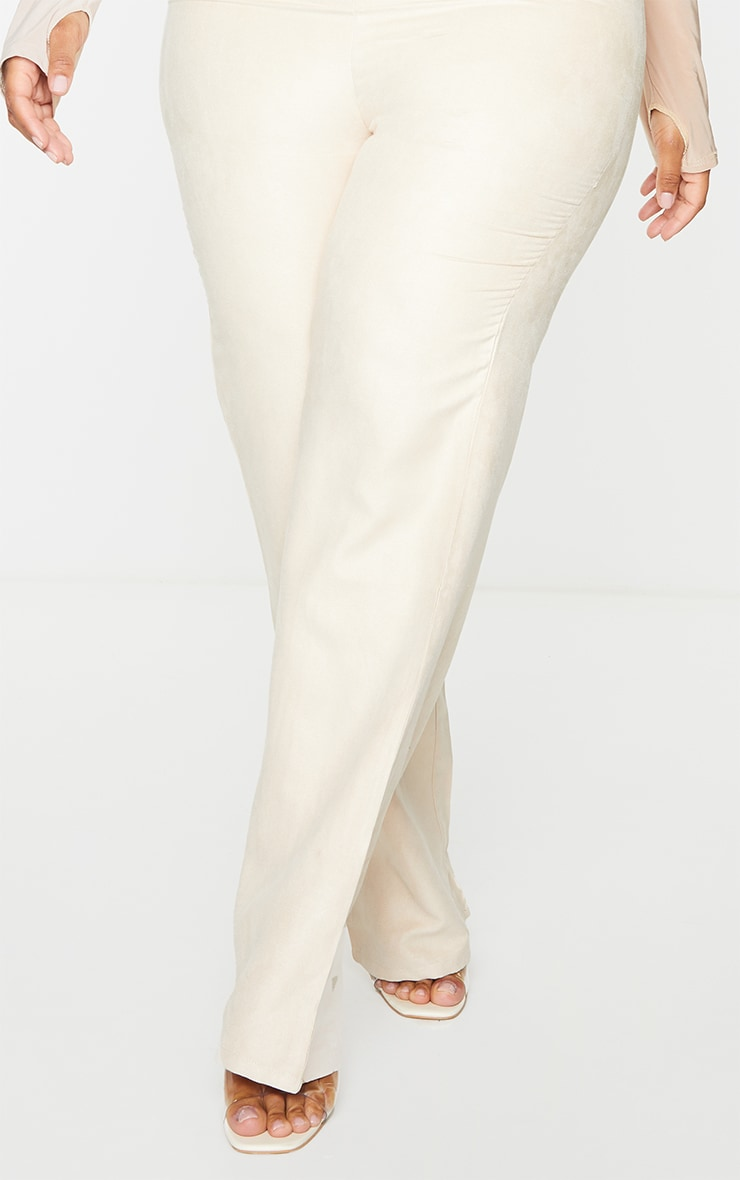 Plus Stone Faux Suede Straight Leg Trousers 4