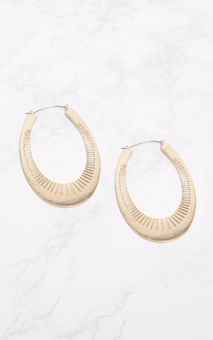 Gold Large Oval Line Detail Hoop Earrings 3