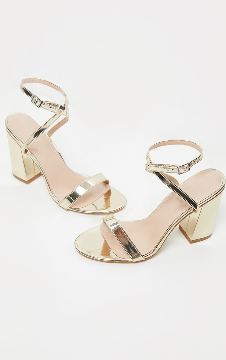 Gold Ankle Strap Block Heel 4