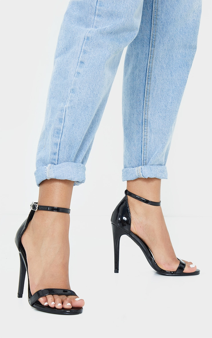 Black Patent Heeled Strappy Sandal 1