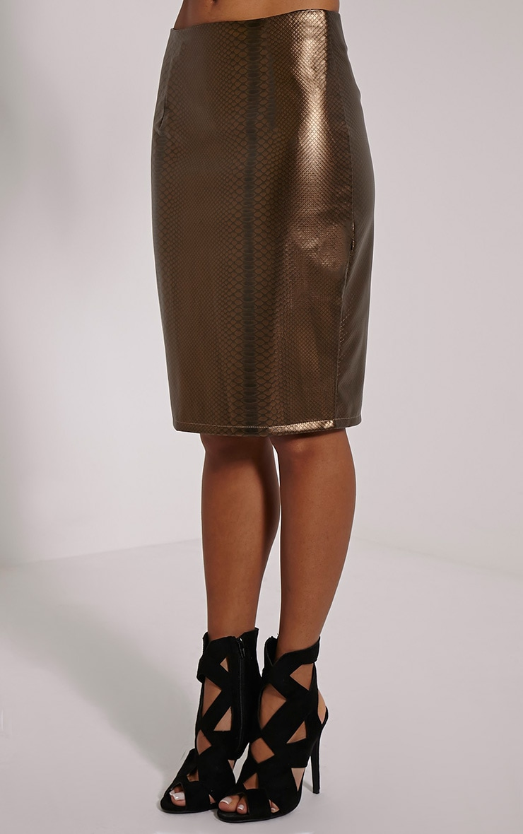 Mollie Gold Snake Print Faux Leather Midi Skirt 3