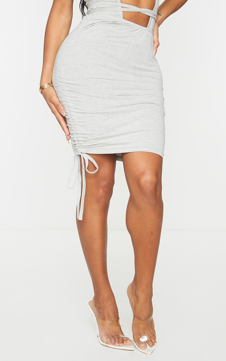 Shape Grey Cotton Ruched Side Bodycon Skirt 2