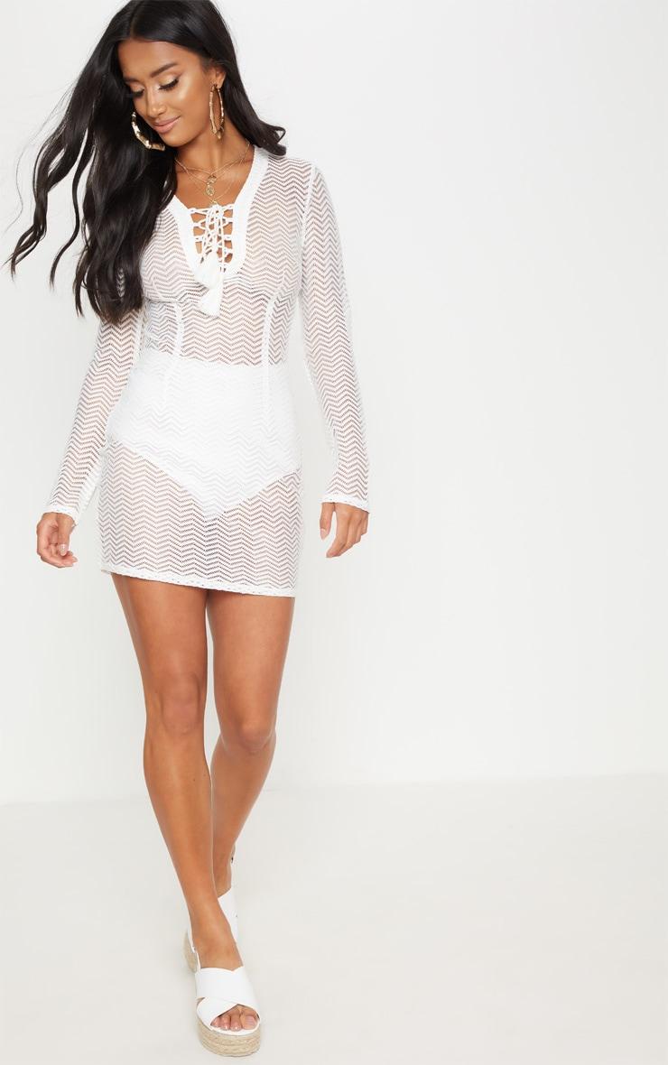 Petite White Crochet Lace Up Mini Dress 4