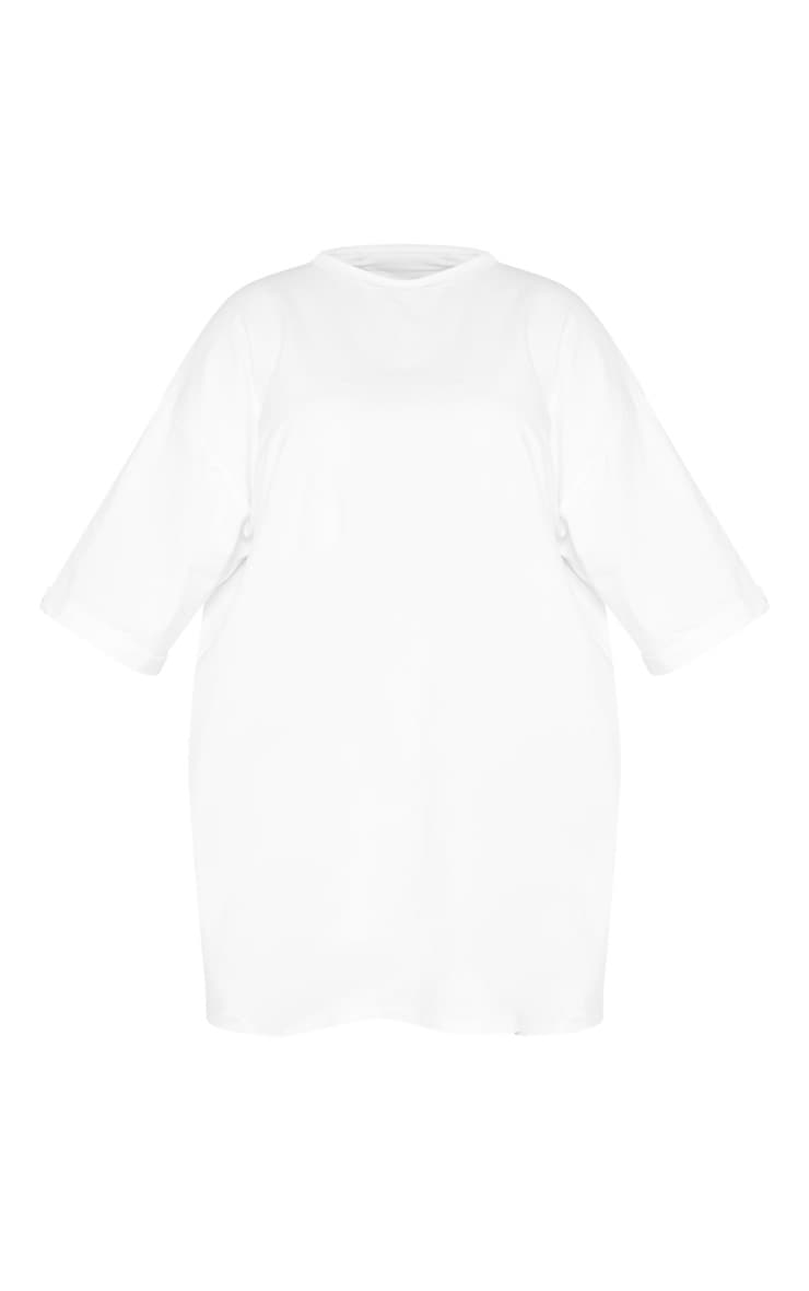 Plus White I See You Oversized Slogan T Shirt Dress 3