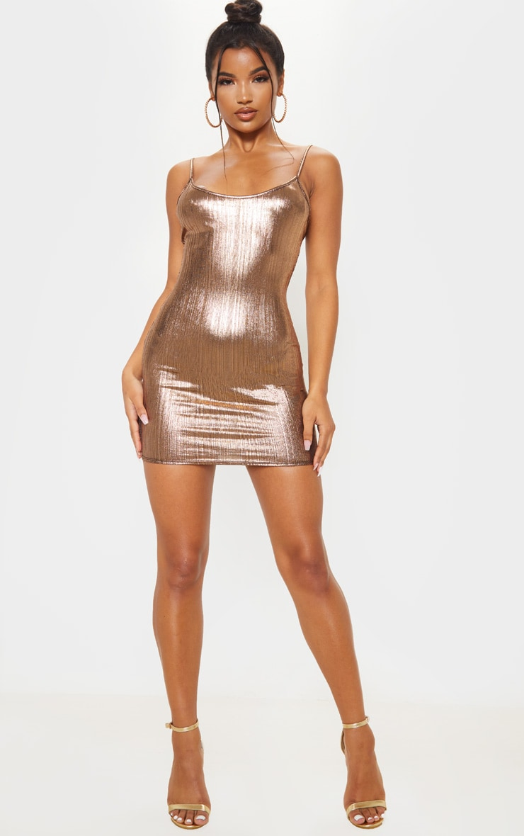 Rose Gold Metallic Strappy Bodycon Dress 1