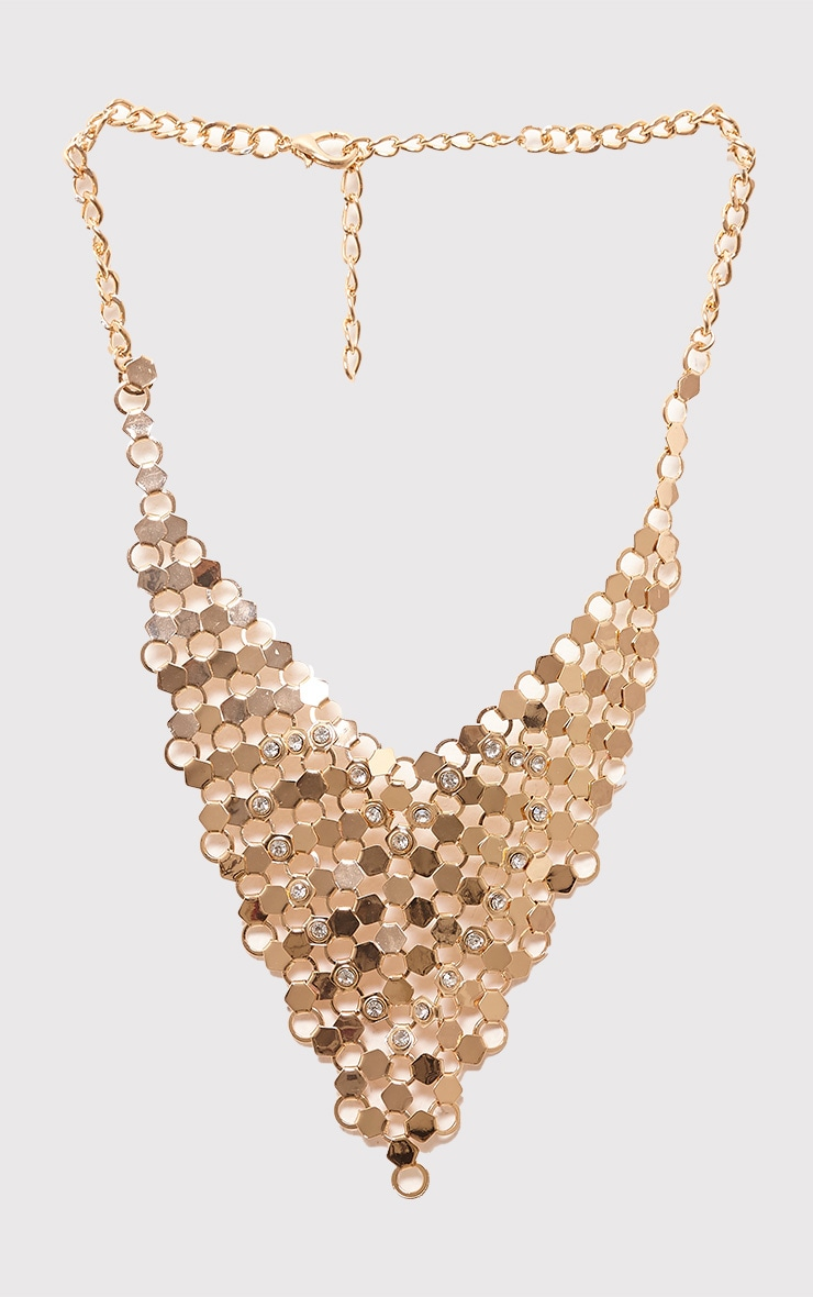 Maleana Gold Chainmail Drop Necklace 2