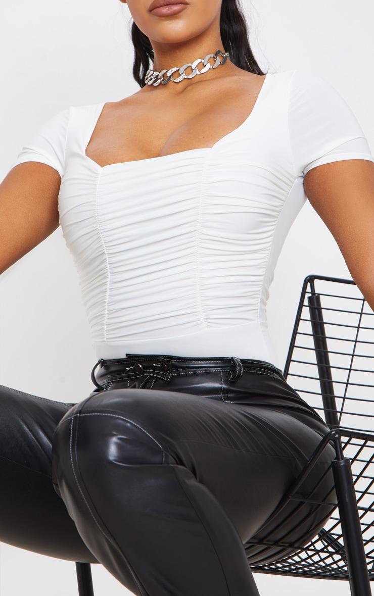 Cream Slinky Ruched Panelled Short Sleeve Bodysuit 6
