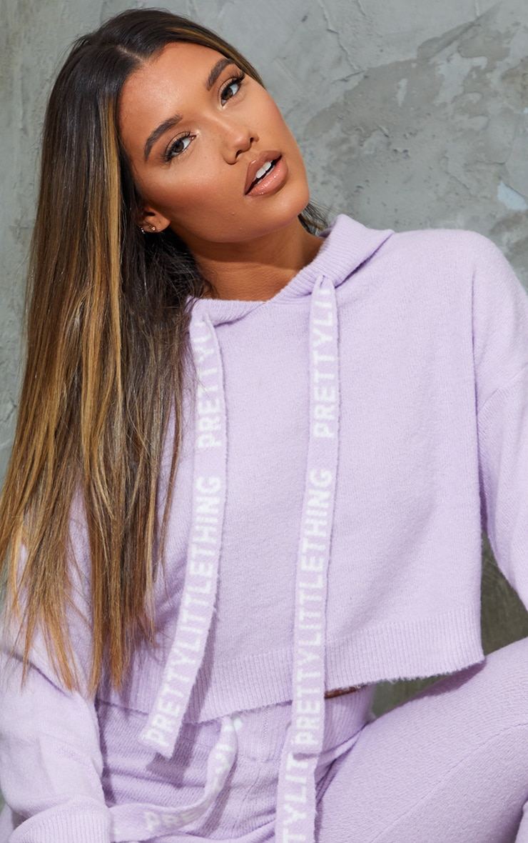 PRETTYLITTLETHING Lilac Soft Cropped Knitted Jumper 4