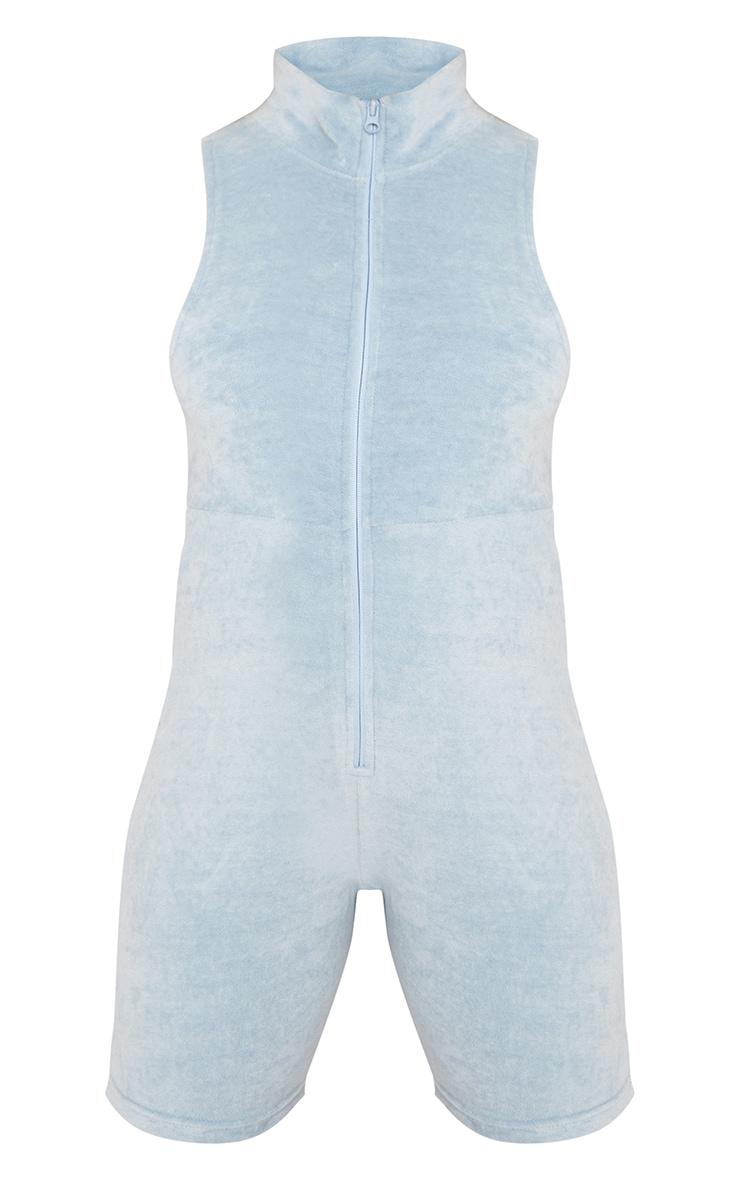 Maternity Baby Blue Velour Zip Front Sleeveless Unitard 5