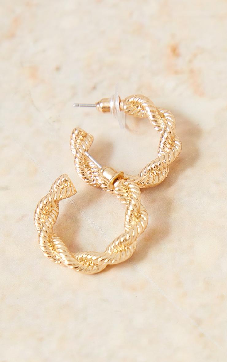 Gold Chunky Twist Small Hoop Earrings 2