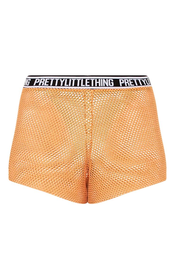 PRETTYLITTLETHING Orange Fishnet Shorts 4