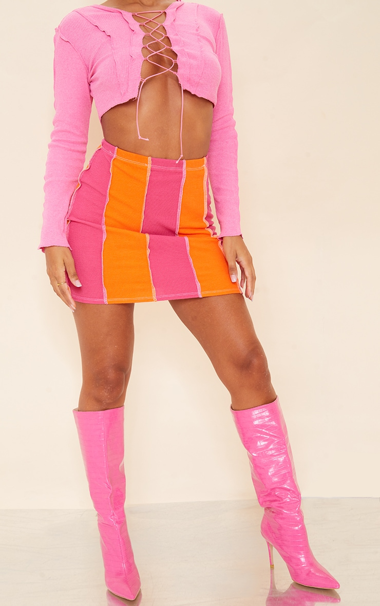 Pink Contrast Stripe Button Detail Hem Skirt 2