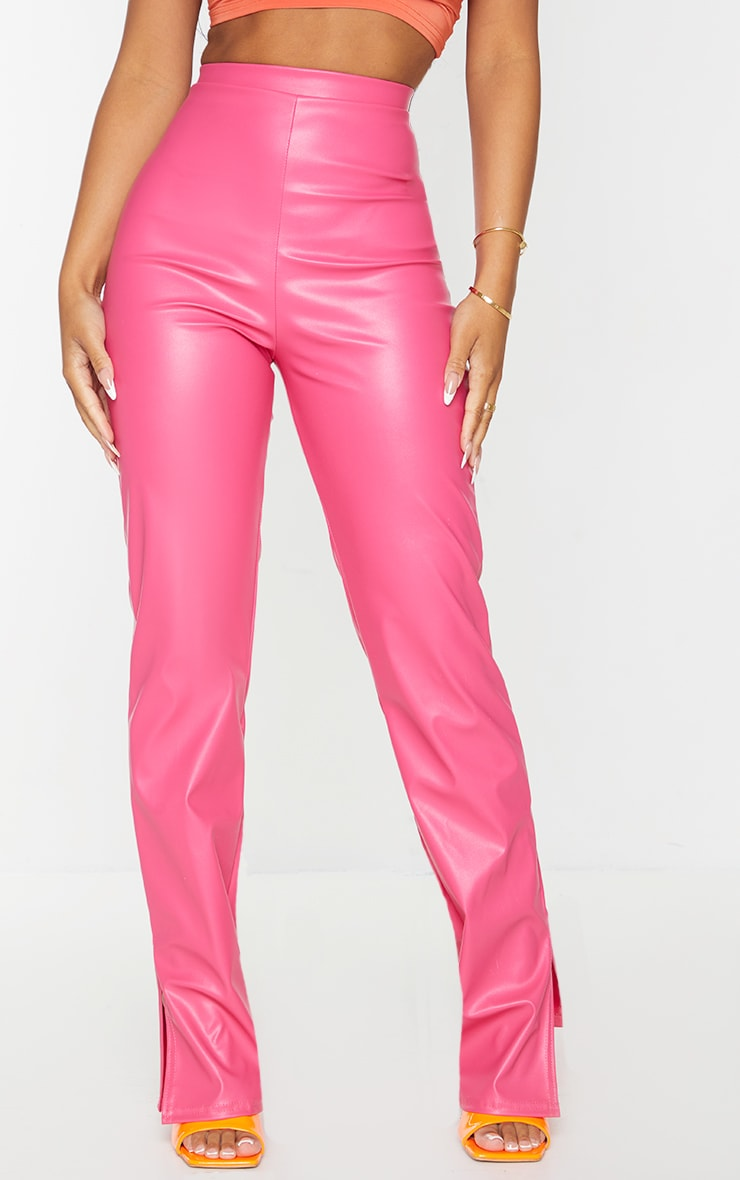 Petite Pink Faux Leather Split Hem Trousers 2
