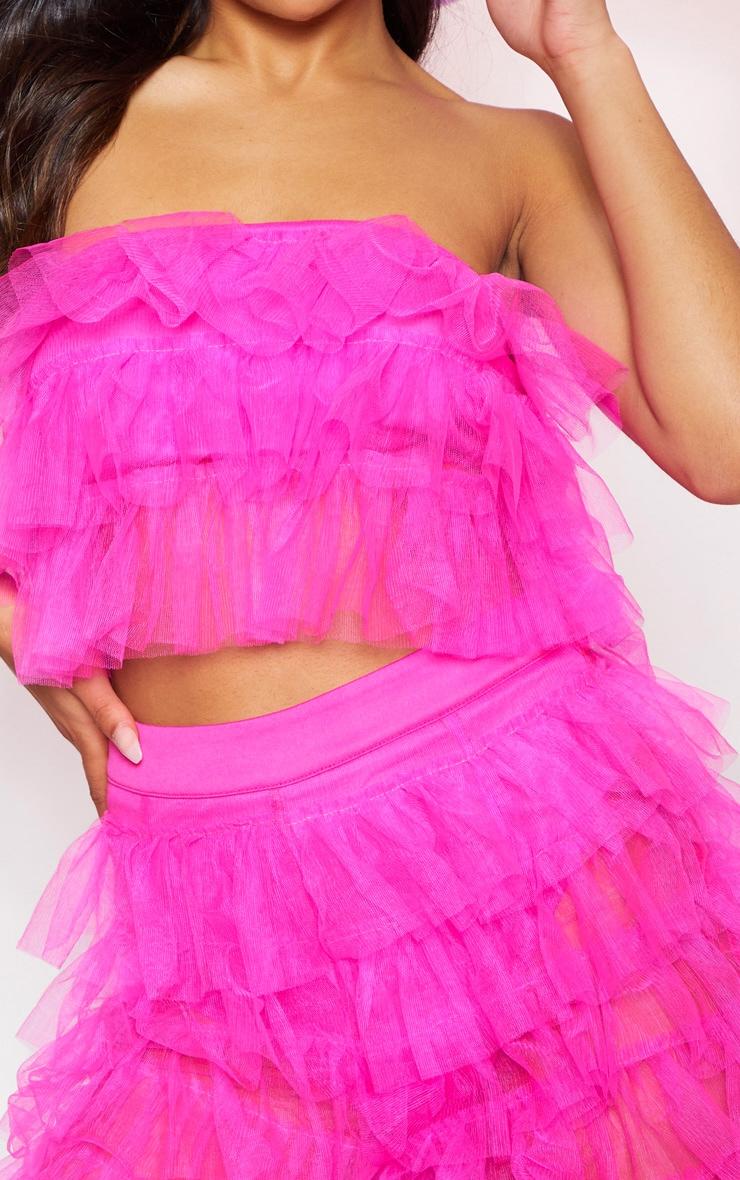 Bright Pink Ruffle Wide Leg Pants 6
