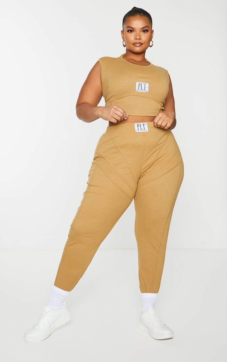 Plus Camel Badge Detail Rib Leggings