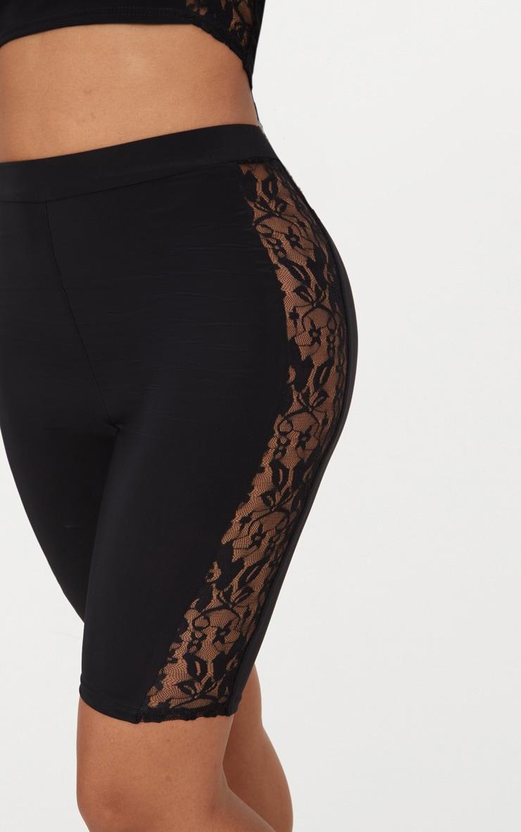 Shape Black Slinky Lace Panel Cycling Shorts 6