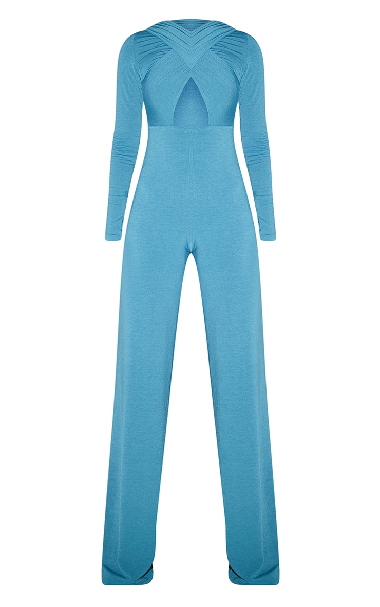 Recycled Tall Blue Contour Jersey Under Bust Wide Leg Jumpsuit 5