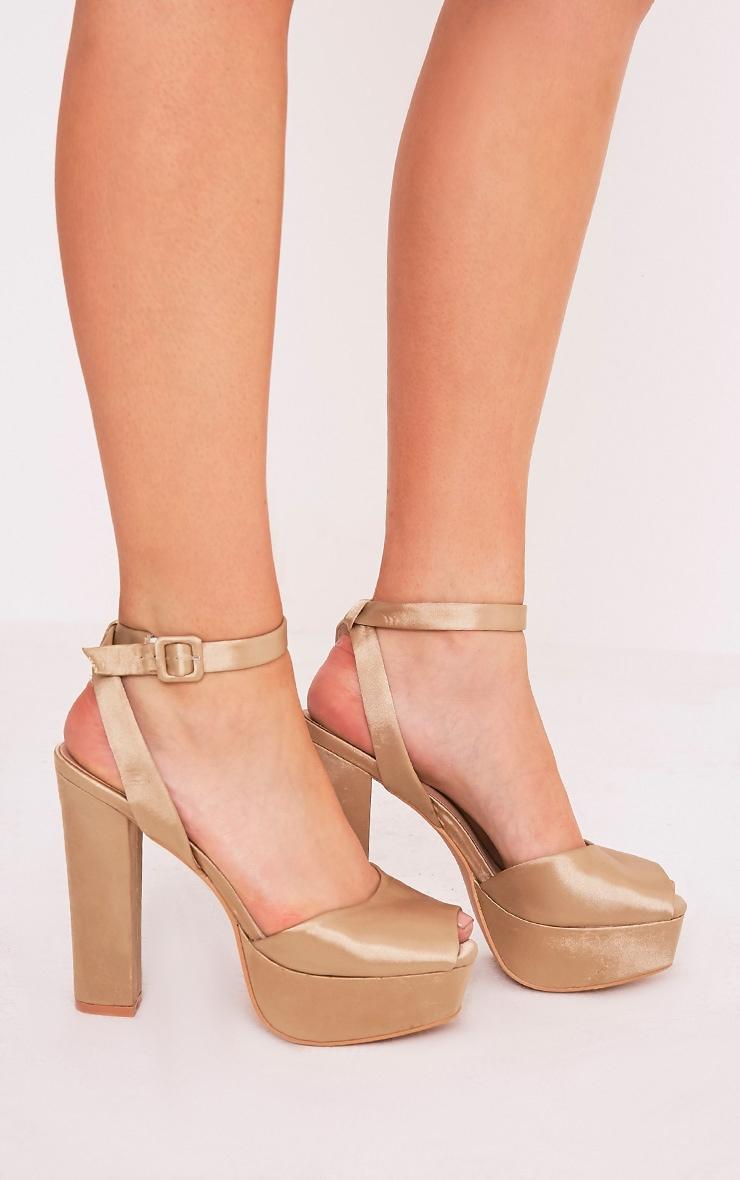 Dianne Champagne Satin Platform Heels 3