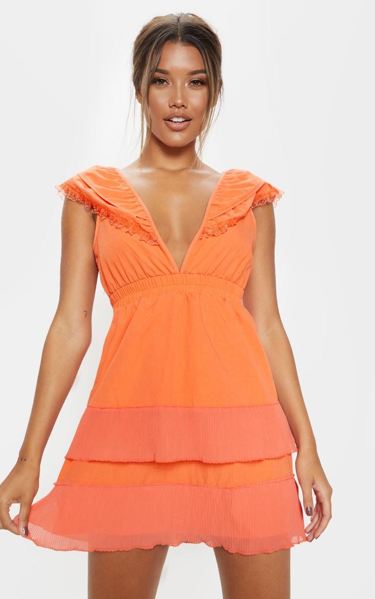 Bright Orange Tiered Ruffle Shift Dress 1