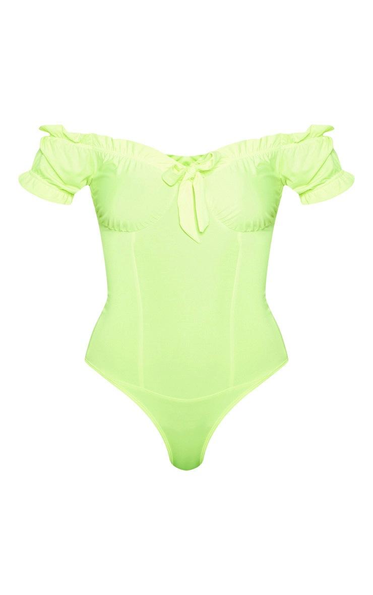 Neon Lime Slinky Frill Edge Bardot Bodysuit 3